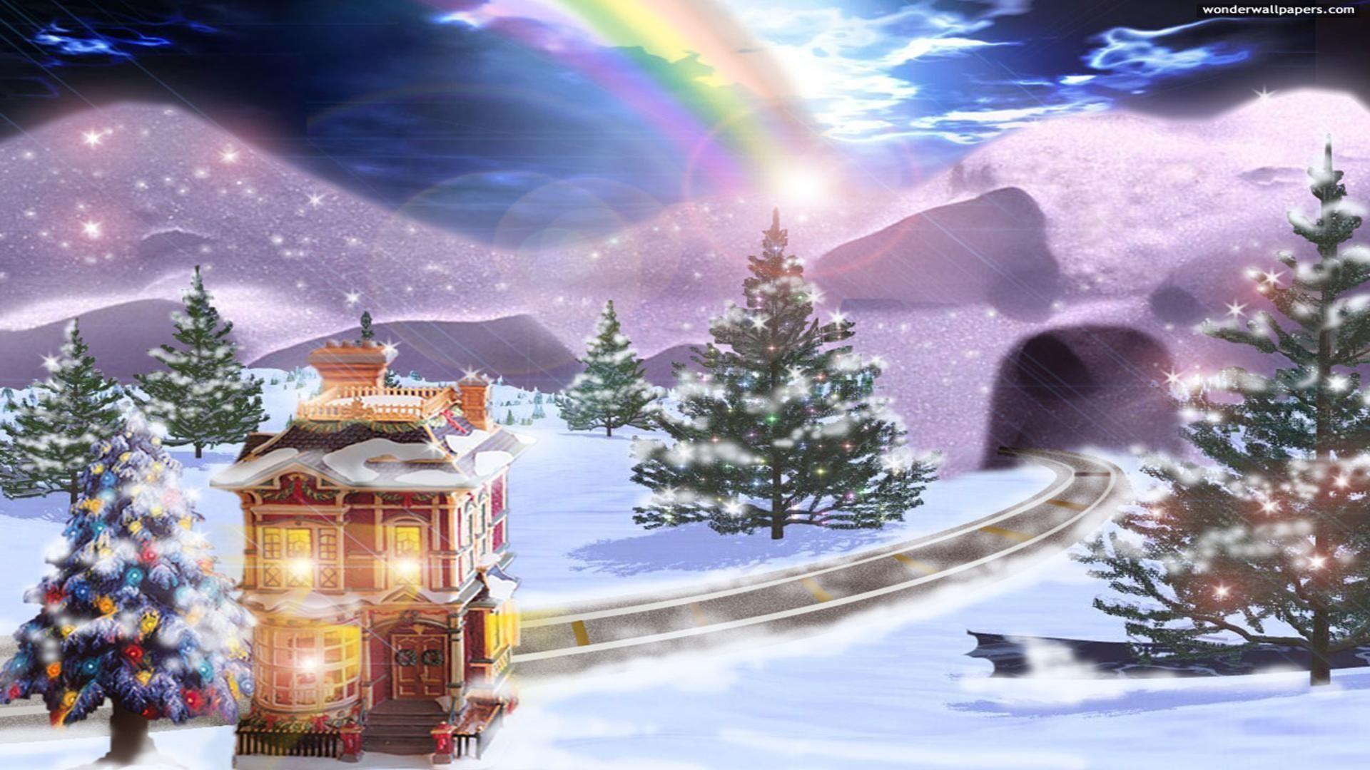 Beautiful Animated Girl Wallpaper Christmas Scenes Wallpaper 42 Images