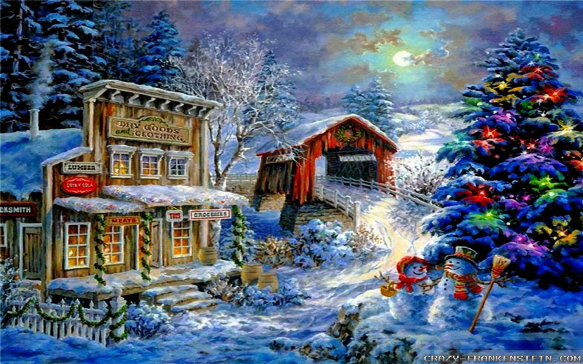 Hd Painting Wallpapers Download Christmas Scenery Wallpaper 45 Images