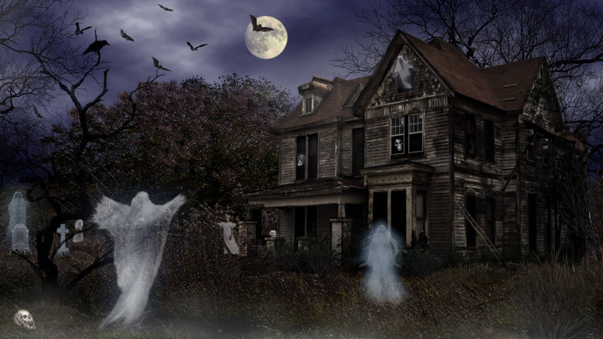 Ghost House Wallpaper Hd 3d 3d Haunted House Wallpaper 59 Images