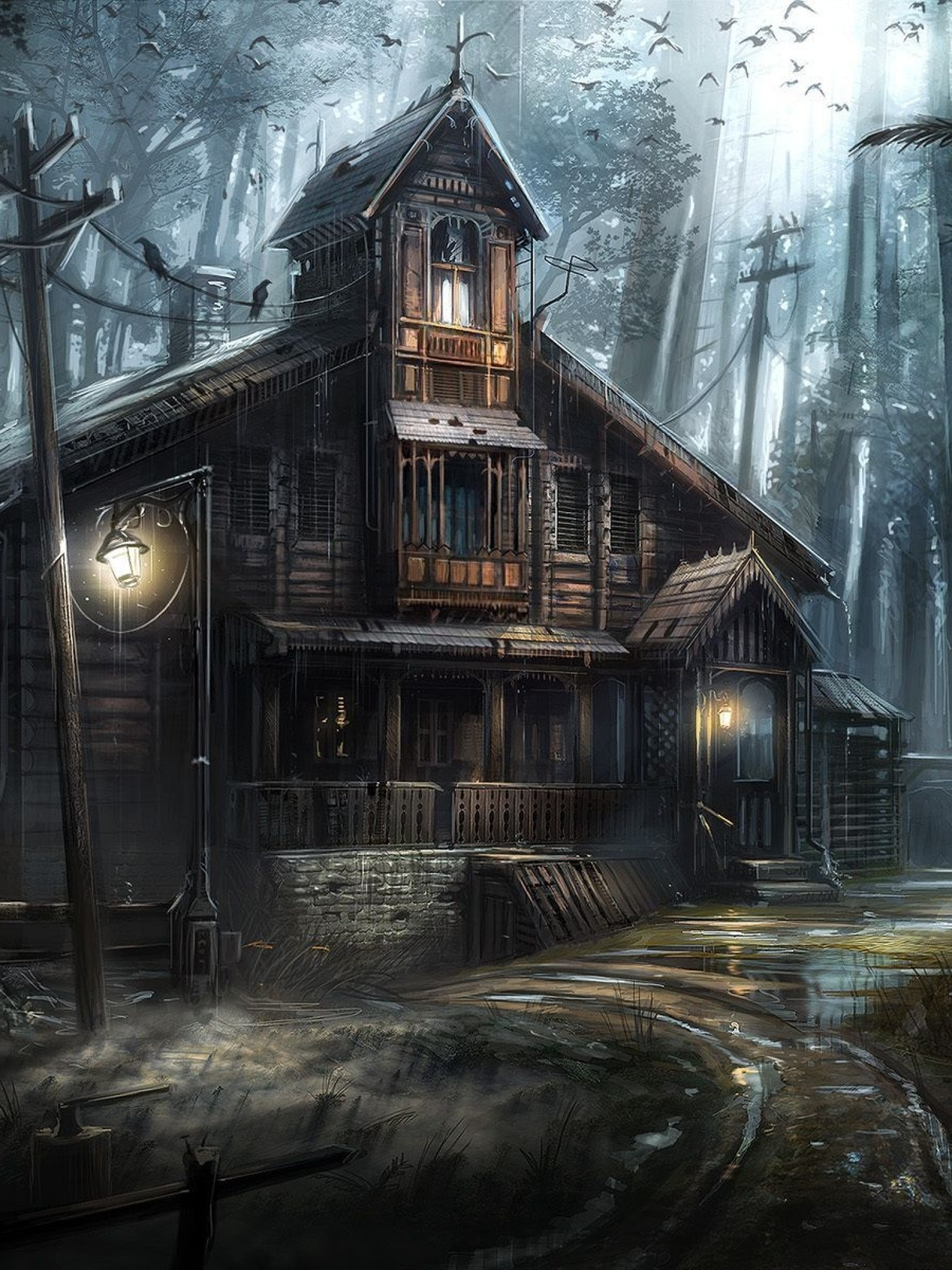 Samsung 3d Wallpaper For Mobile Haunted Forest Wallpaper 59 Images