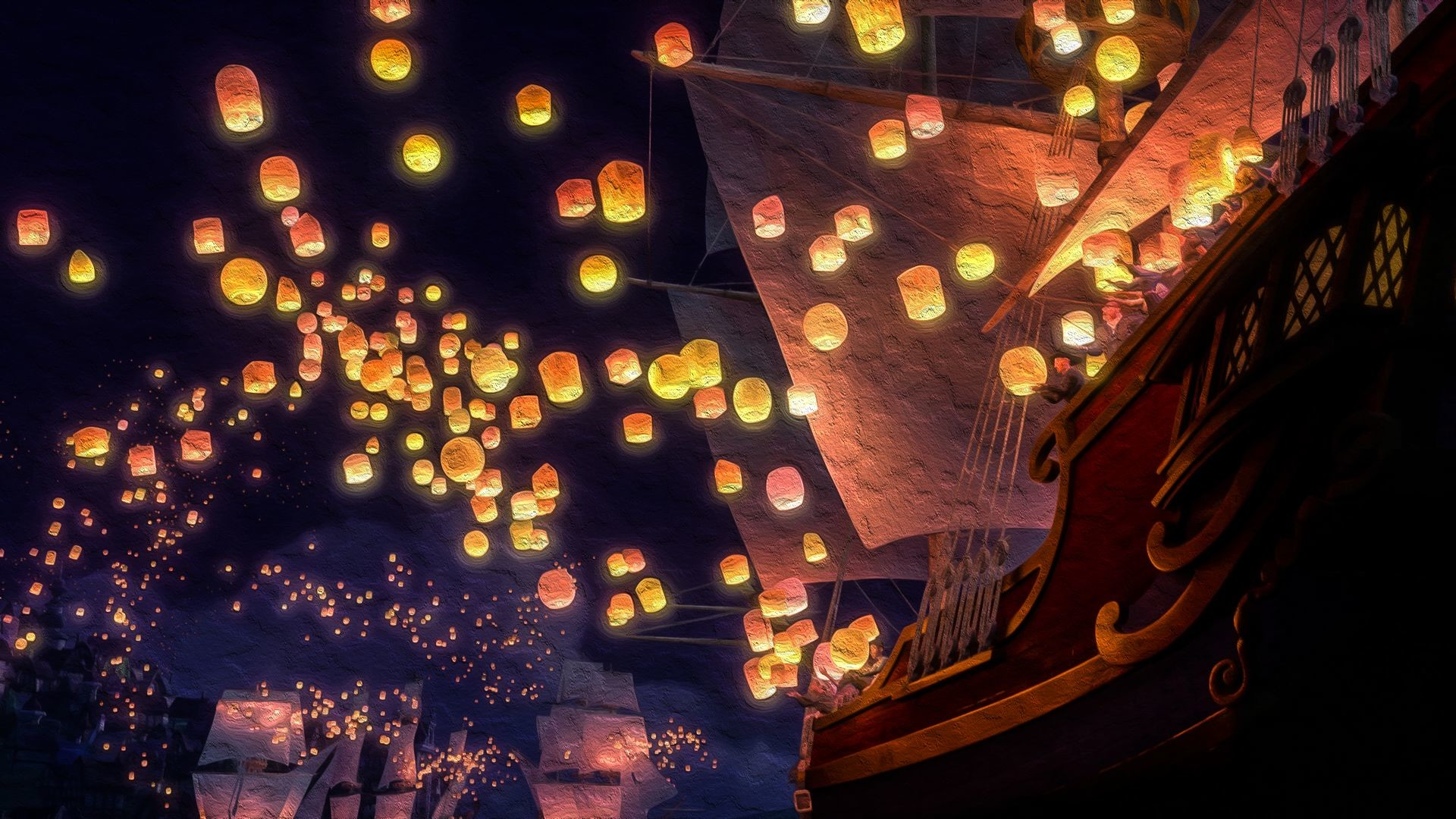 Free Fall Hp Widescreen Wallpapers Tangled Floating Lanterns Desktop Wallpaper 74 Images