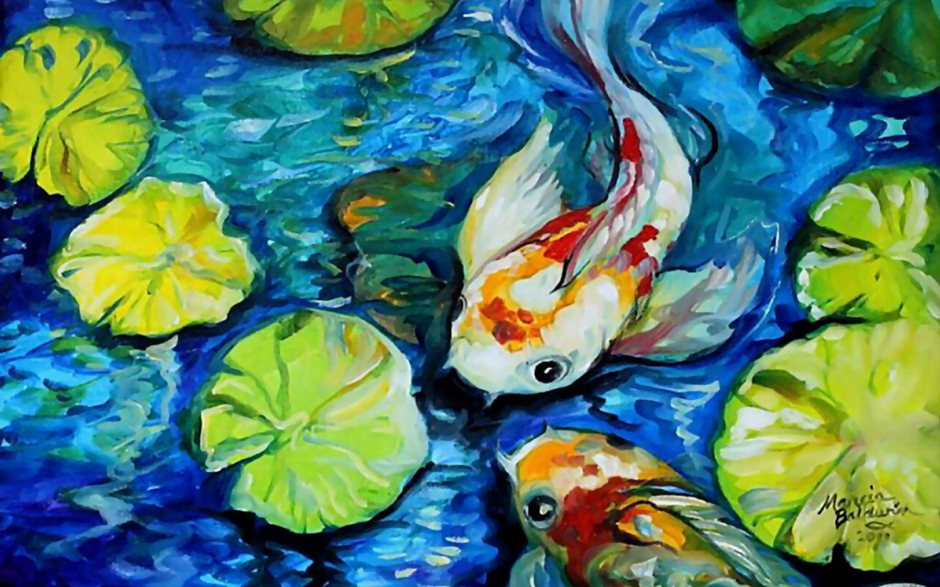 Cat In Fall Wallpaper Background Koi Fish Wallpaper 59 Images