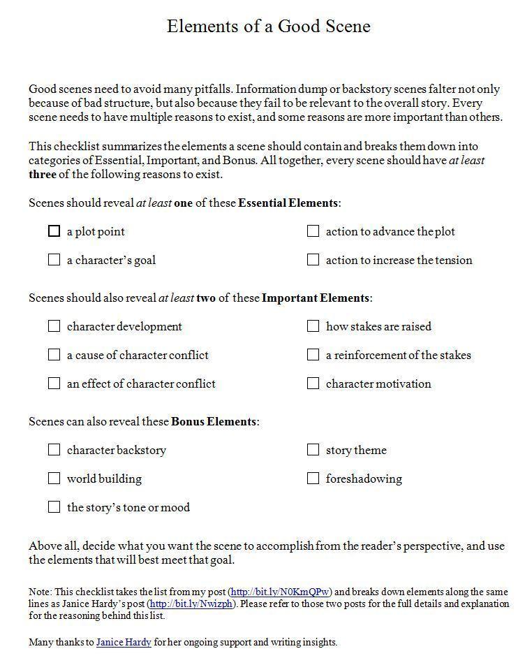 Scene-writing Checklist getWrite!