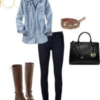 Easy Winter Outfit | Chambray, Skinny Jeans and Riding Boots