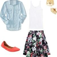 Spring Outfit Formula:  Chambray Shirt + Floral Skirt