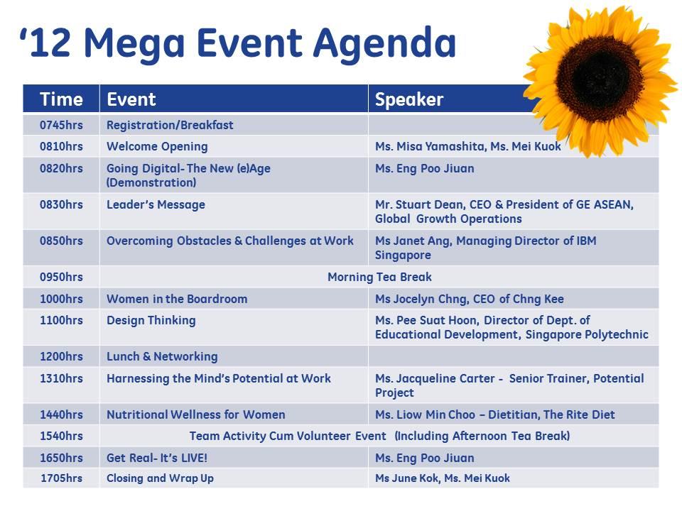 GE Women\u0027s Network 2012 Mega Event \u2013 Agenda GE Women\u0027s Network