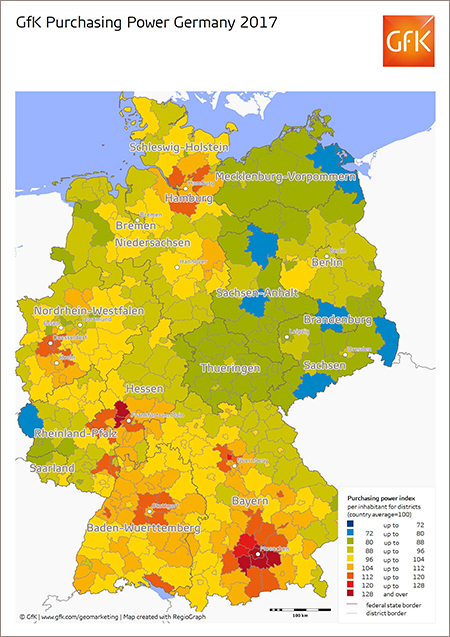 Map of the month: GfK Purchasing Power Germany 2017