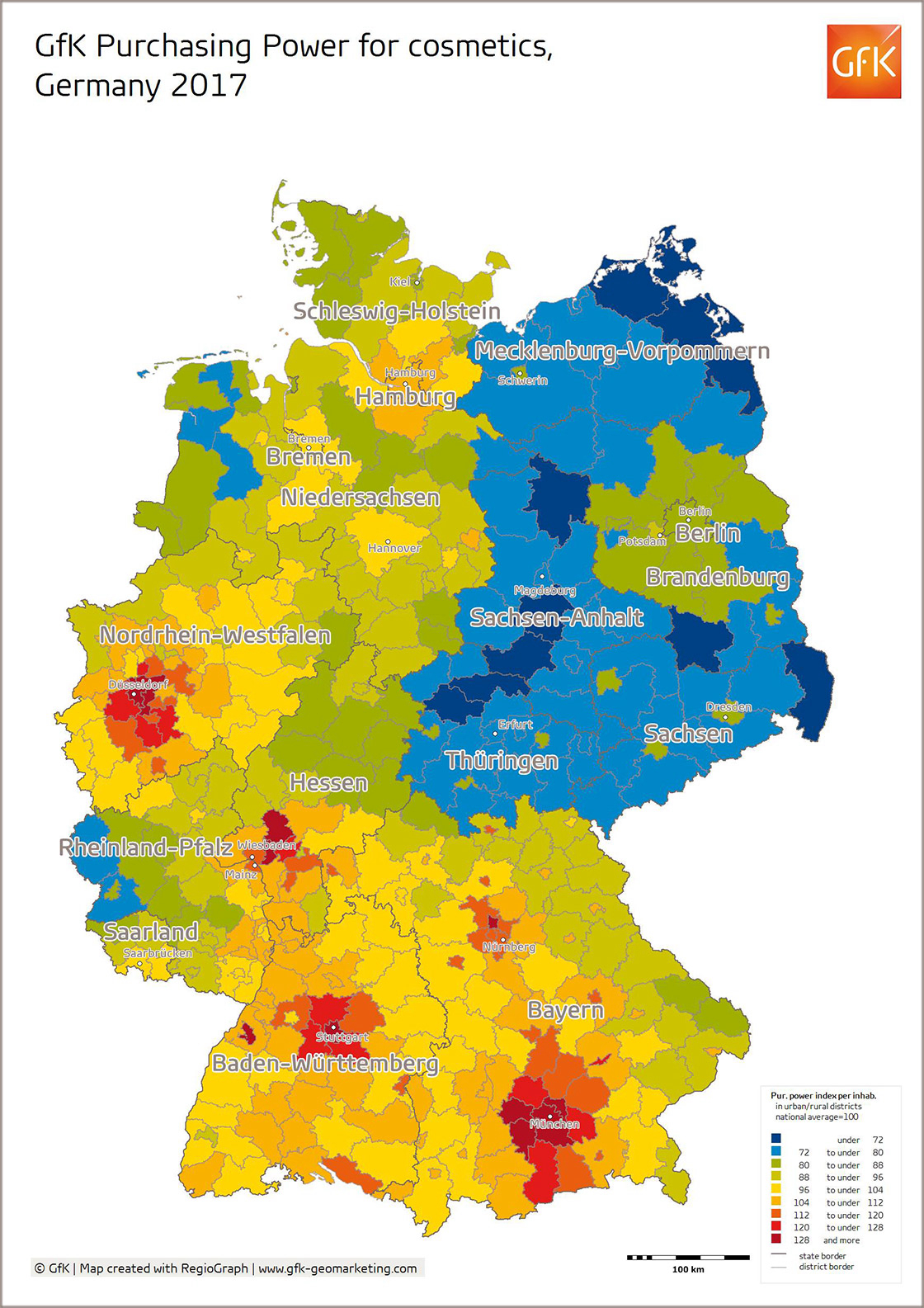 Map Of The Month Gfk Purchasing Power For Cosmetics