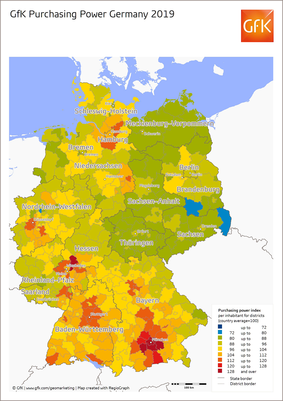 Map Of The Month Gfk Purchasing Power Germany 2019
