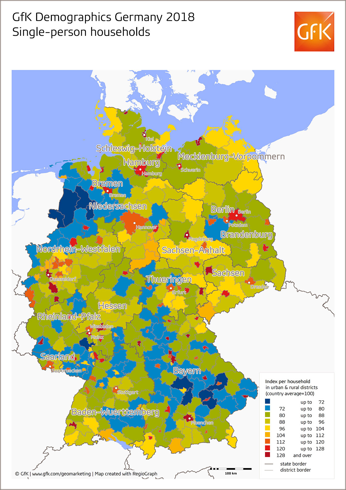Map Of The Month Single Person Households Germany 2018