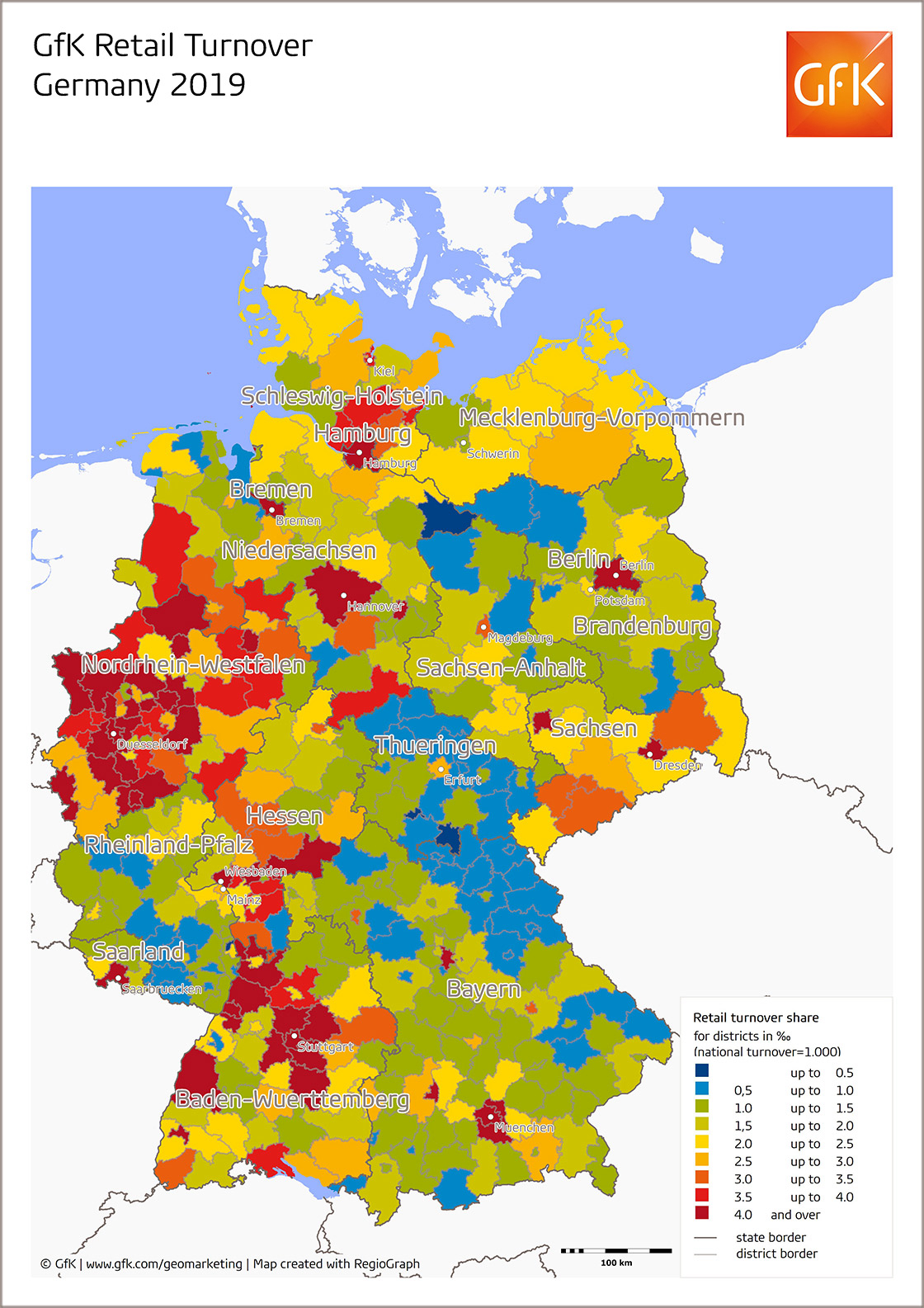 Map Of The Month Gfk Retail Turnover Germany 2019