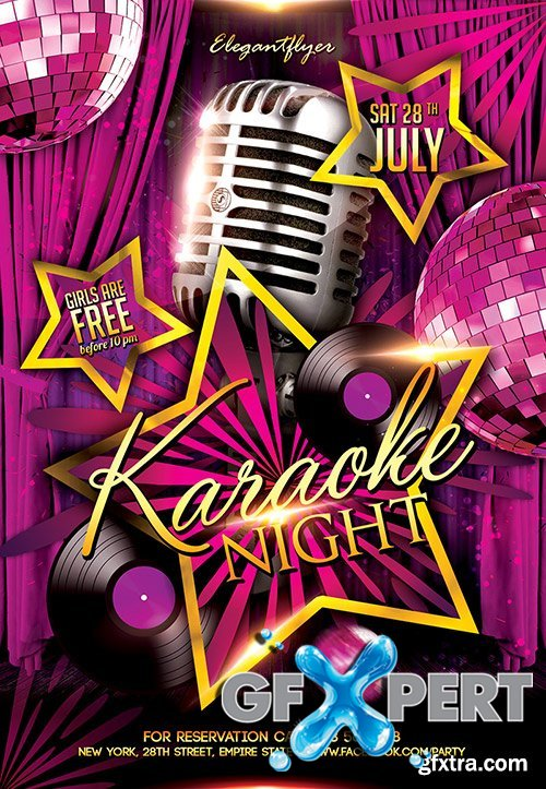 Free Karaoke Night Flyer PSD Template + Facebook Cover download