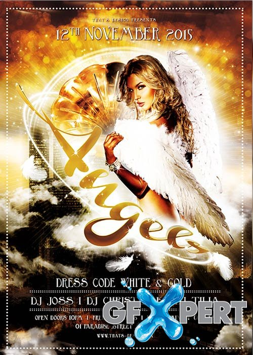 Free Angels Party Flyer Template + Facebook Cover download - angels templates free