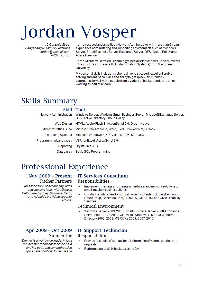 sample waitress resume australia