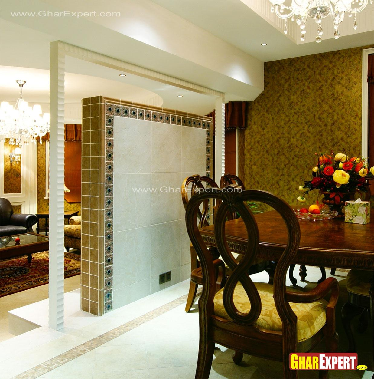 Partition Design For Living Room And Dining Hall Tiled Wall Partition In Drawing Room For Dining Area