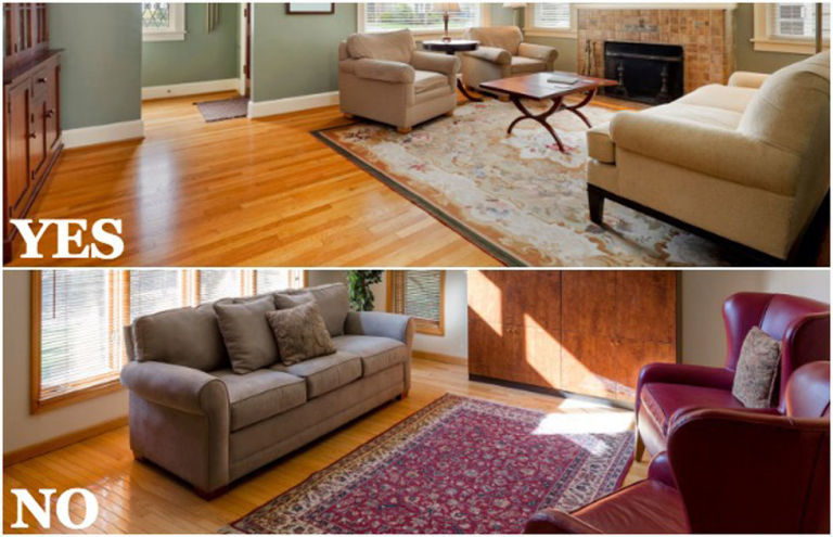 How to Choose an Area Rug - Home Decorating Tips - brown rugs for living room