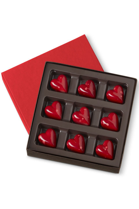 $19  BUY NOW Kohler's heart-shaped treats are filled with creamy raspberry ganache with hints of cognac and champagne. We promise your sweetheart will find them silky, smooth and unquestionably satisfying.