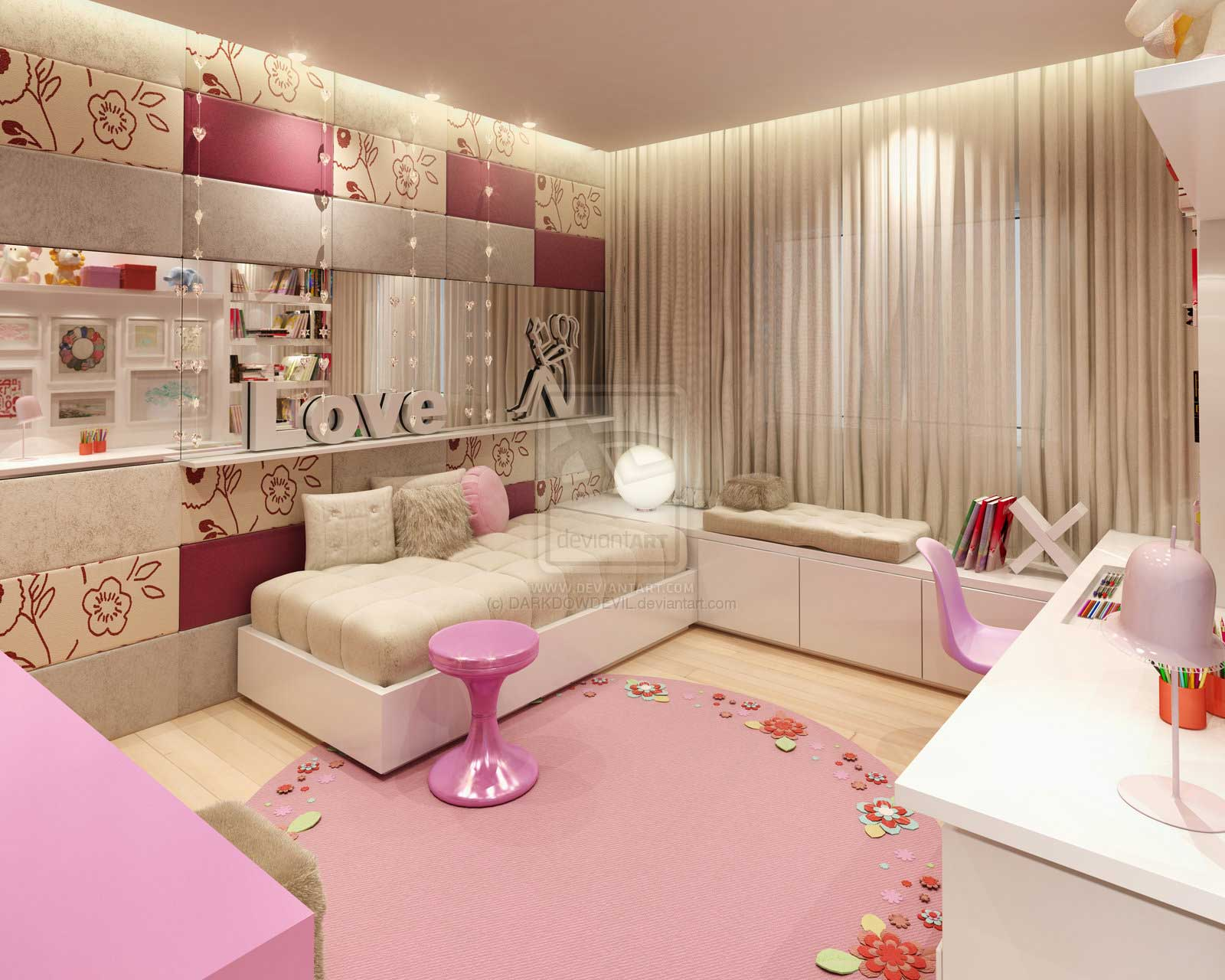 Awesome Teenage Bedrooms Comfort Pink Girl Bedroom By Darkdowdevil Interior