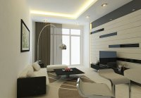 Modern Living Room Wall with Striped Decor - Interior ...