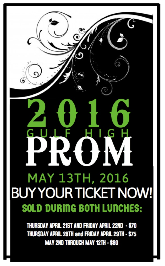 Prom tickets Gulf High School