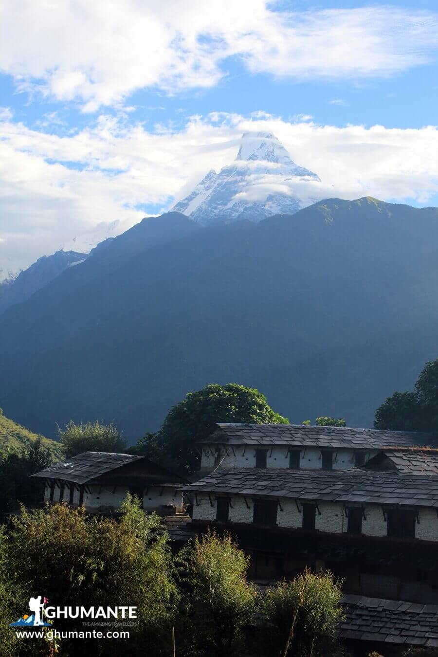 Mt. Macchapuchre and Ghandruk village in one frame