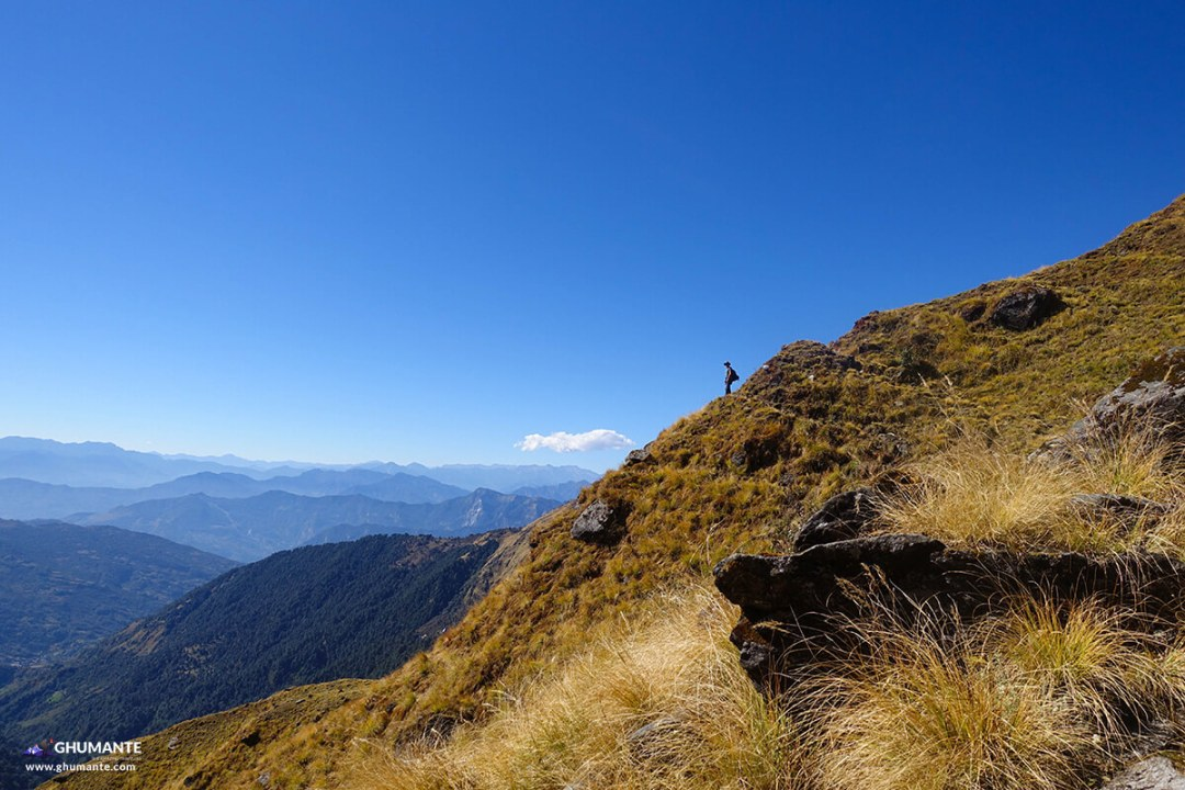 Most of our route to Khopra hill was along the ridge, where we enjoyed the most expansive views