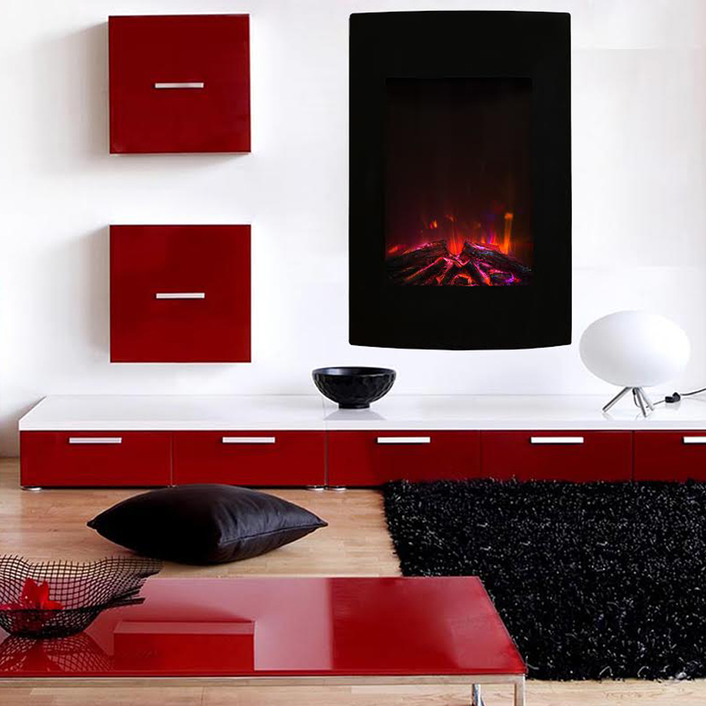 Curved Electric Fireplace Alpine 23 Inch Multi Color Curved Black Wall Mounted Electric Fireplace
