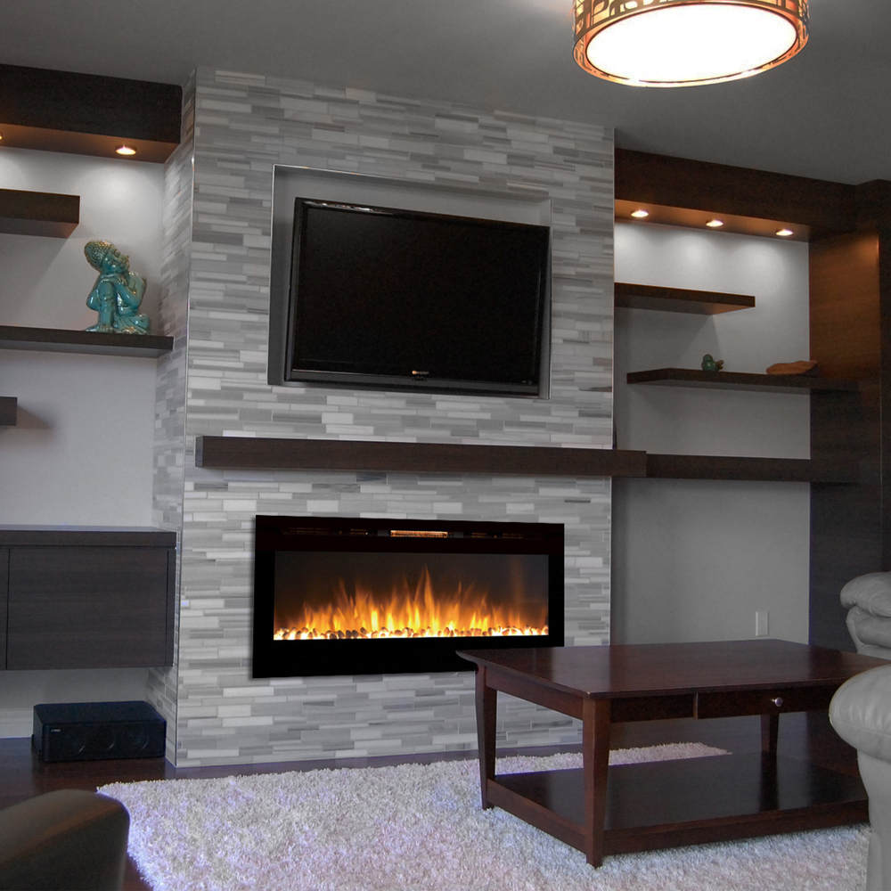Electric Fireplace Built Into Wall Sydney 50 Inch Pebble Recessed Pebble Wall Mounted Electric Fireplace