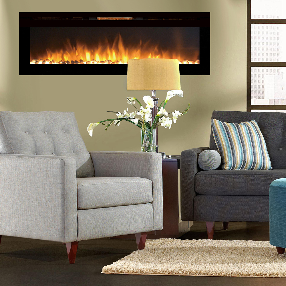 Electric Fireplace Built Into Wall Reno 60 Inch Pebble Built In Recessed Wall Mounted Electric Fireplace