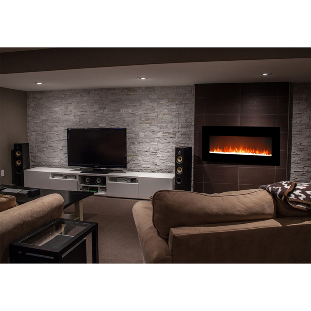 Wall Mount Fireplaces Lawrence 50 Inch Crystal Electric Wall Mounted Fireplace Black