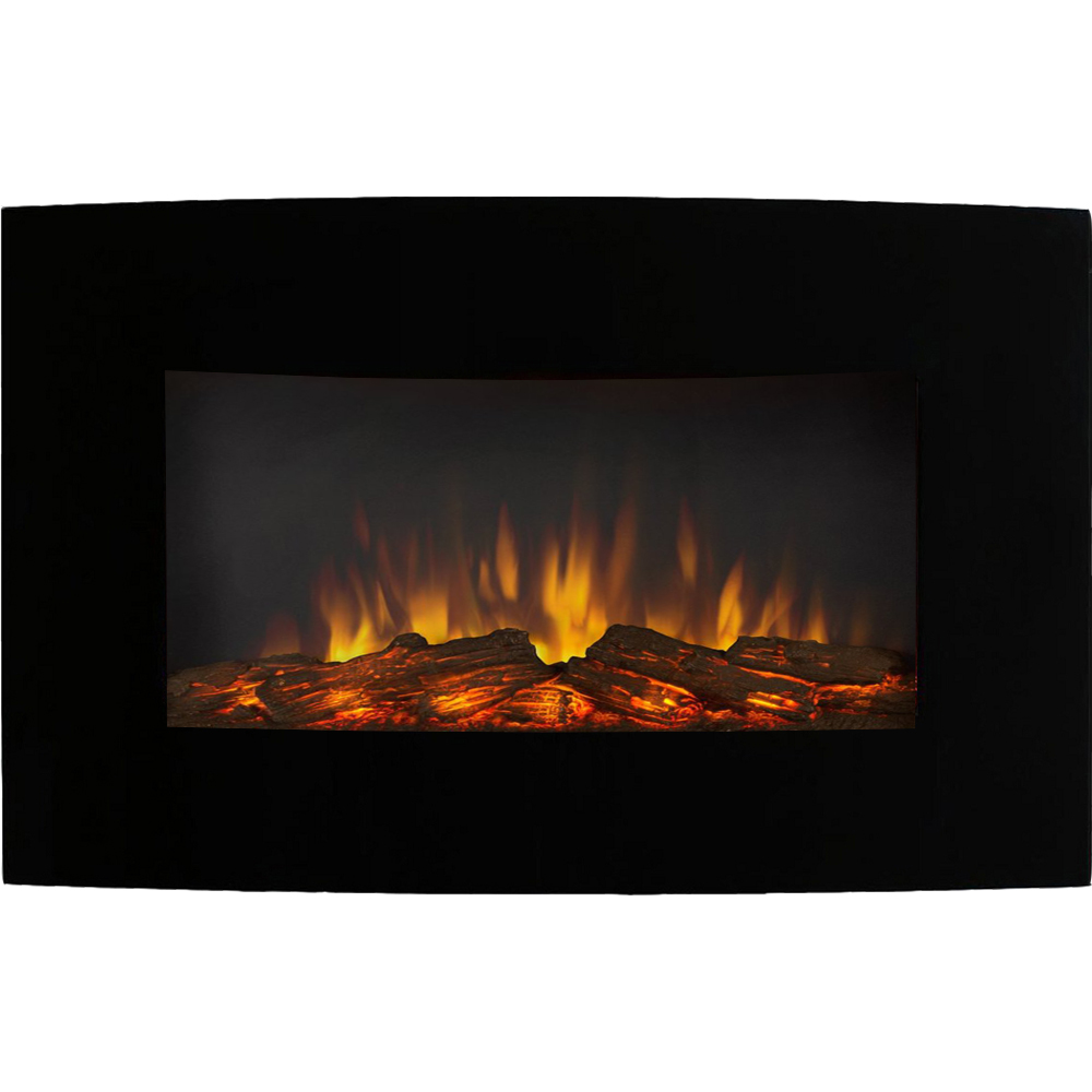 Curved Electric Fireplace Soho 35 Inch Curved Black Log Wall Mounted Electric Fireplace