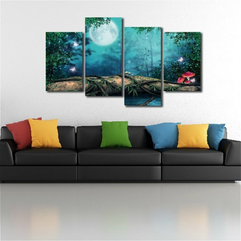 Printing Canvas 4panels Fantasy Forest Canvas Printing Painting For Bedroom Wall Decor Giclee Print Canvas Wall Art Home Decoration Dropshipping