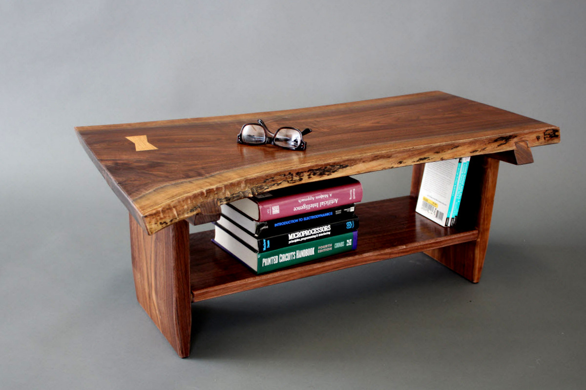 Live Edge Coffee Table Live Edge Walnut Petite Coffee Table Bench With Sliding