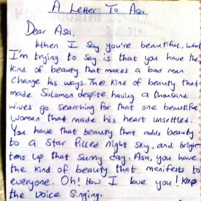 Fan writes singer Asa a love letter, worships her beauty GIDIBASE