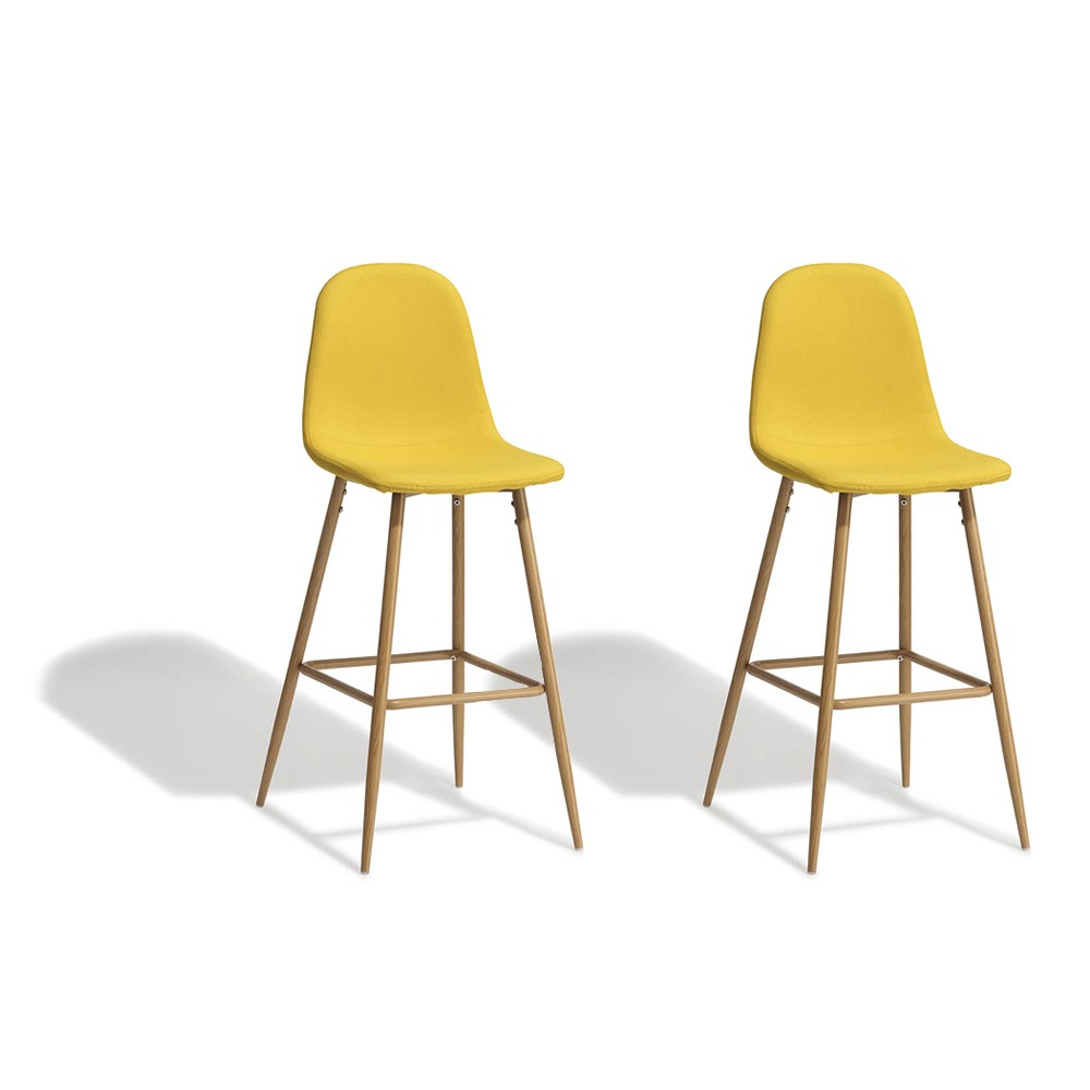 Tabourets Bar Lot De 2 Tabourets De Bar Gaby Jaune Moutarde