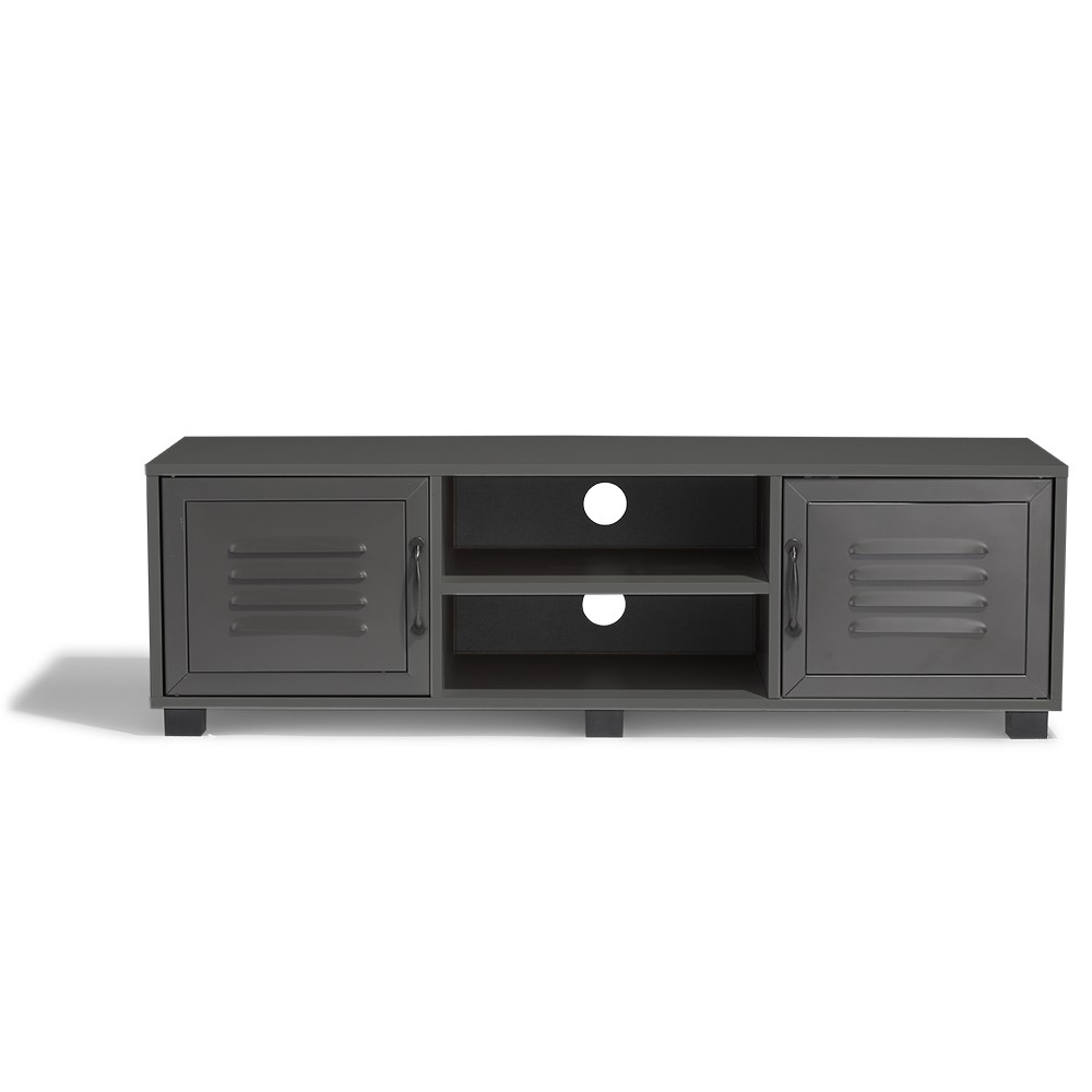 Table Gifi Meuble Tv Brooklyn Gris Anthracite 2 Portes Et 2 Niches