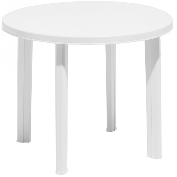 Table Ronde Plastique Jardin Table De Jardin Ronde 4 Personnes Blanche - Table / Chaise