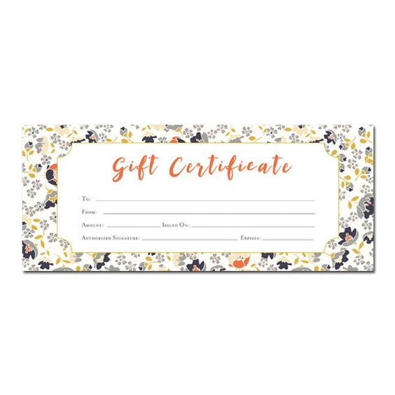 DIY-Floral print, Blank Gift Certificate, Premade, Gift Certificate
