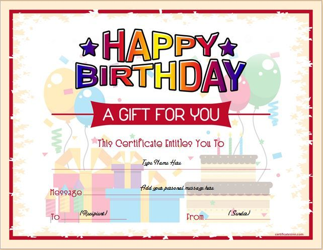 Birthday Gift Certificate Templates Gift Certificate Templates - sample birthday gift certificate template
