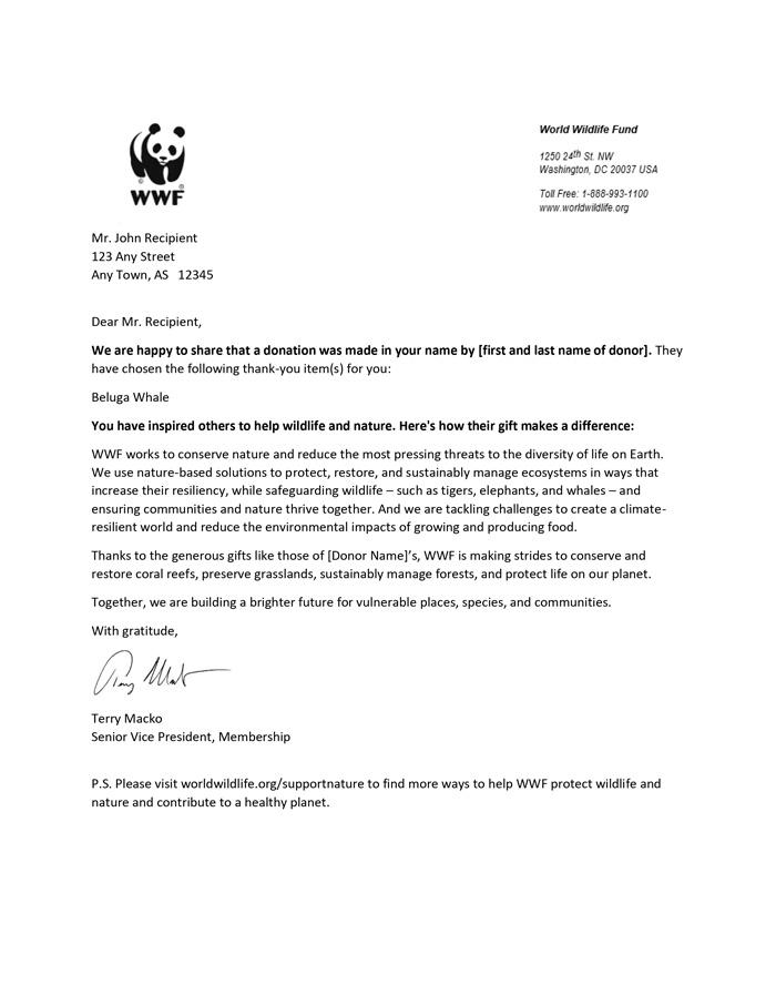 World Wildlife Fund - Adoption Kit Benefits - Sample Ack Letter