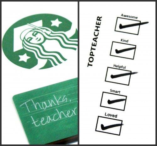Teacher Gifts  Starbucks teacher gift card thank you coffee cup