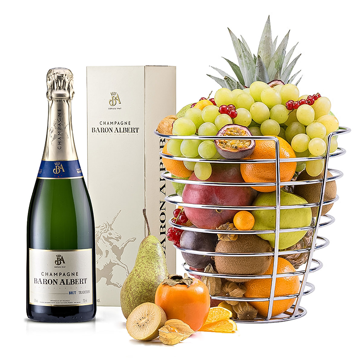 Designer Fruit Basket Baron Champagne And Designer Fruitbasket Delivery In