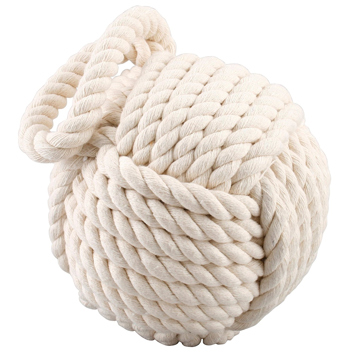 Nautical Doorstop Nautical Weighted Cream Rope Ball Doorstop