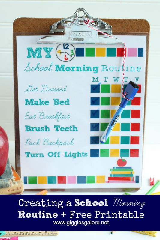 Back to School Morning Routine Checklist - Giggles Galore