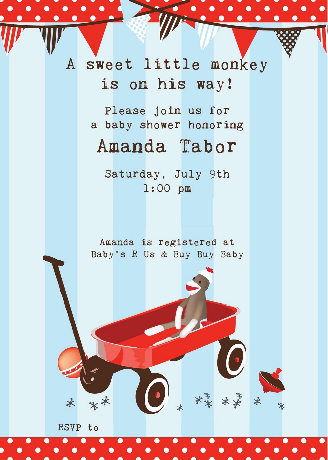 Sock Monkey Baby Shower Party Idea Invitations
