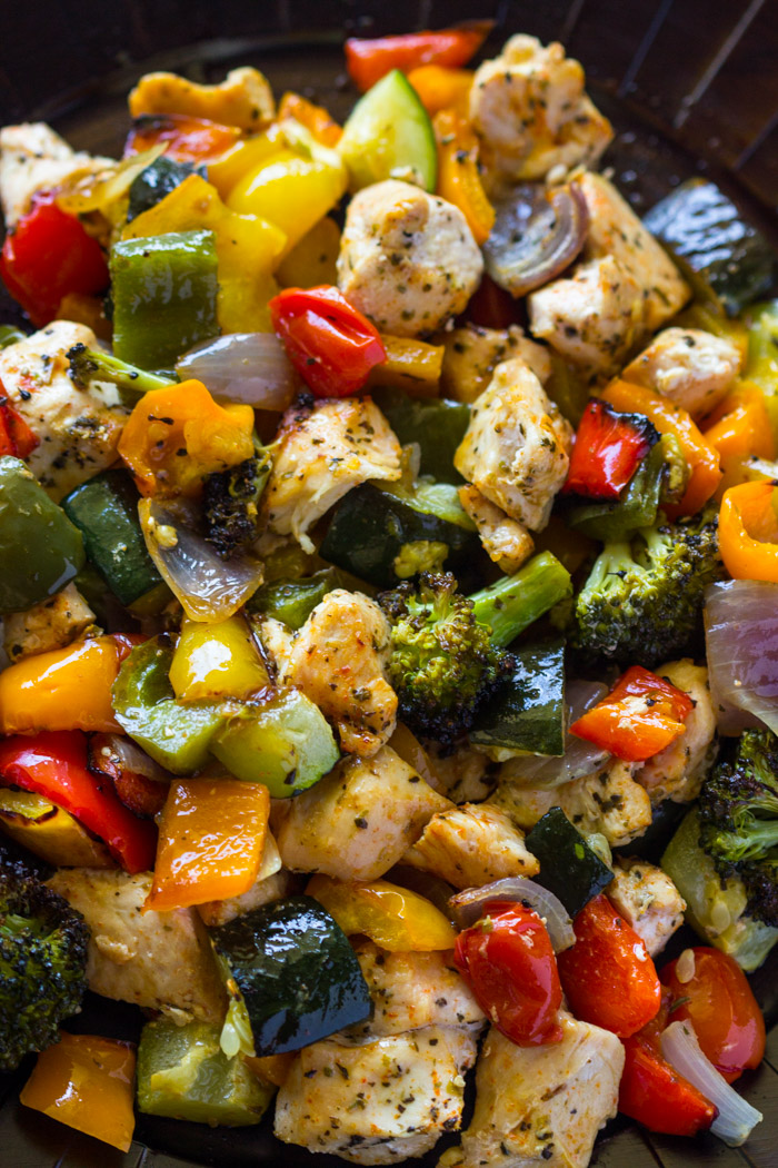 15 Minute Healthy Roasted Chicken And Veggies (Video) | Gimme