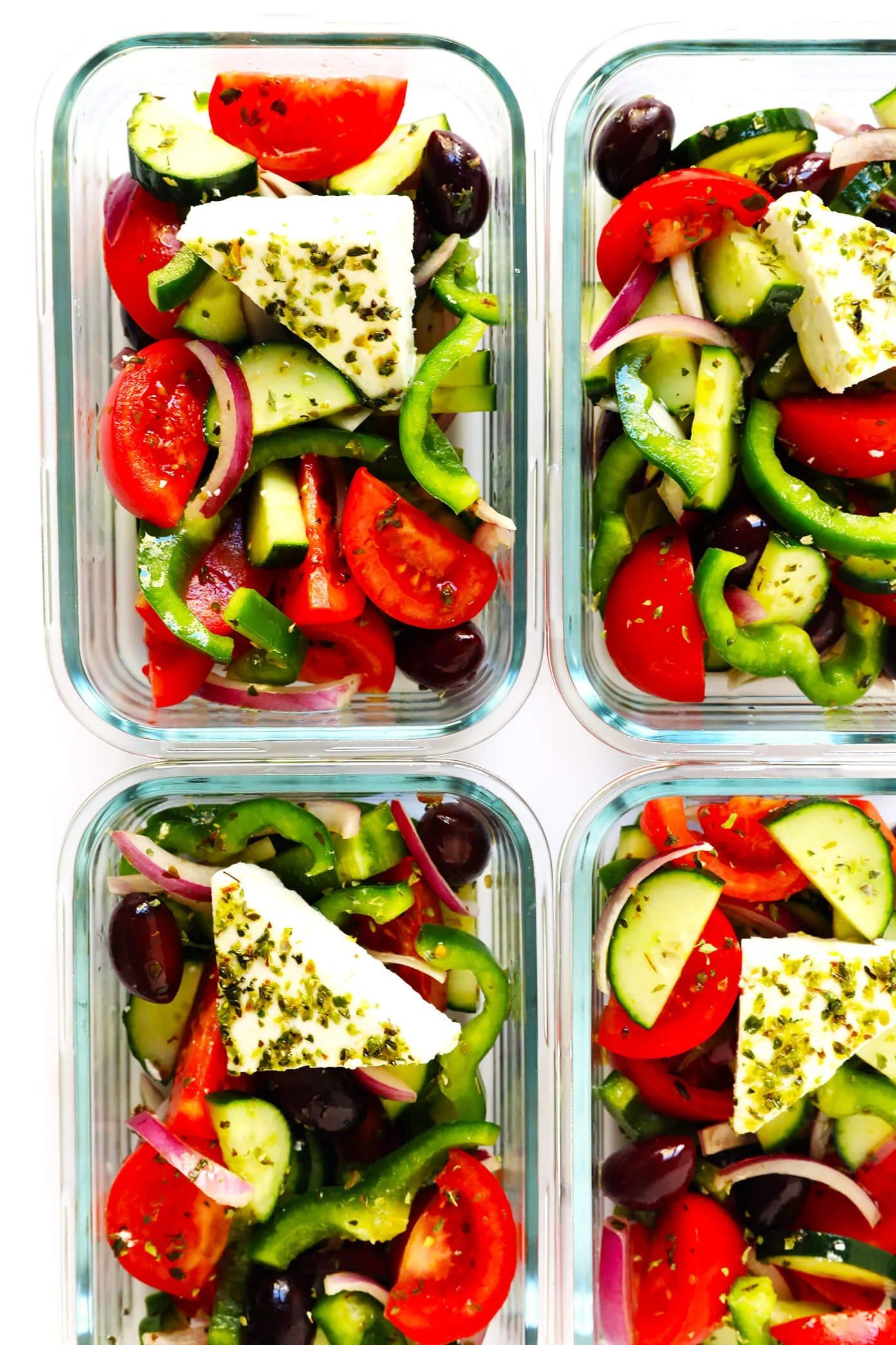 Healthy Meal Prep Authentic Greek Salad | Gimme Some Oven