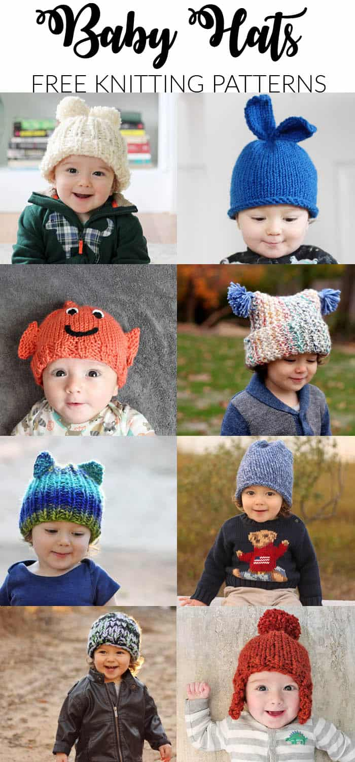 Garter Ear Flap Hat Free Baby Hat Knitting Patterns - Gina Michele