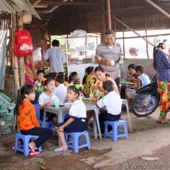 Mekong School Children Having Breakfast Before School