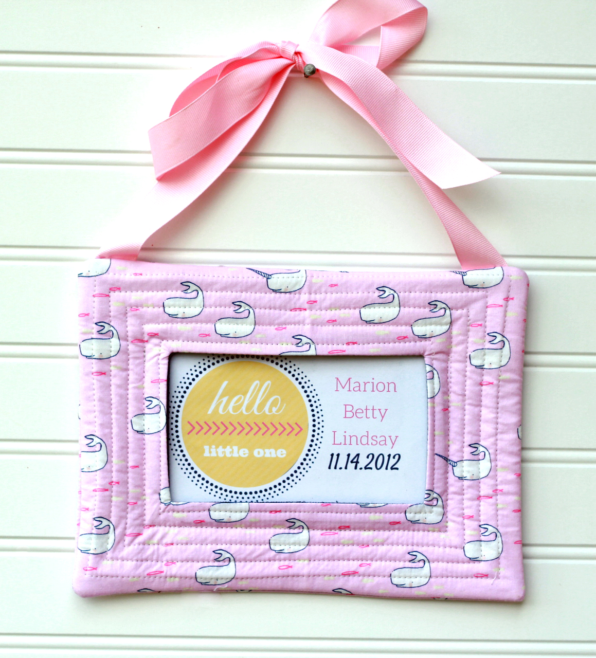 Quilted Fabric Baby Announcement Quilted Fabric Frame Gingercake